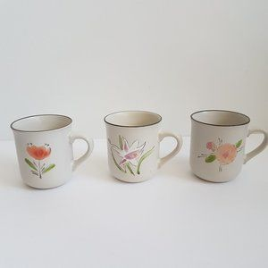 3 Hand-Painted Stone Ware mugs. Made in Korea